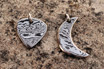 Damascus Guitar Pick and Crescent Moon Pendants