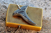 Stainless Damascus Shark Tooth Pendant
